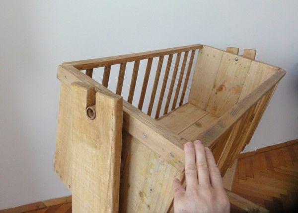 cuna de madera de la paleta de paletas muebles con horquilla pallet