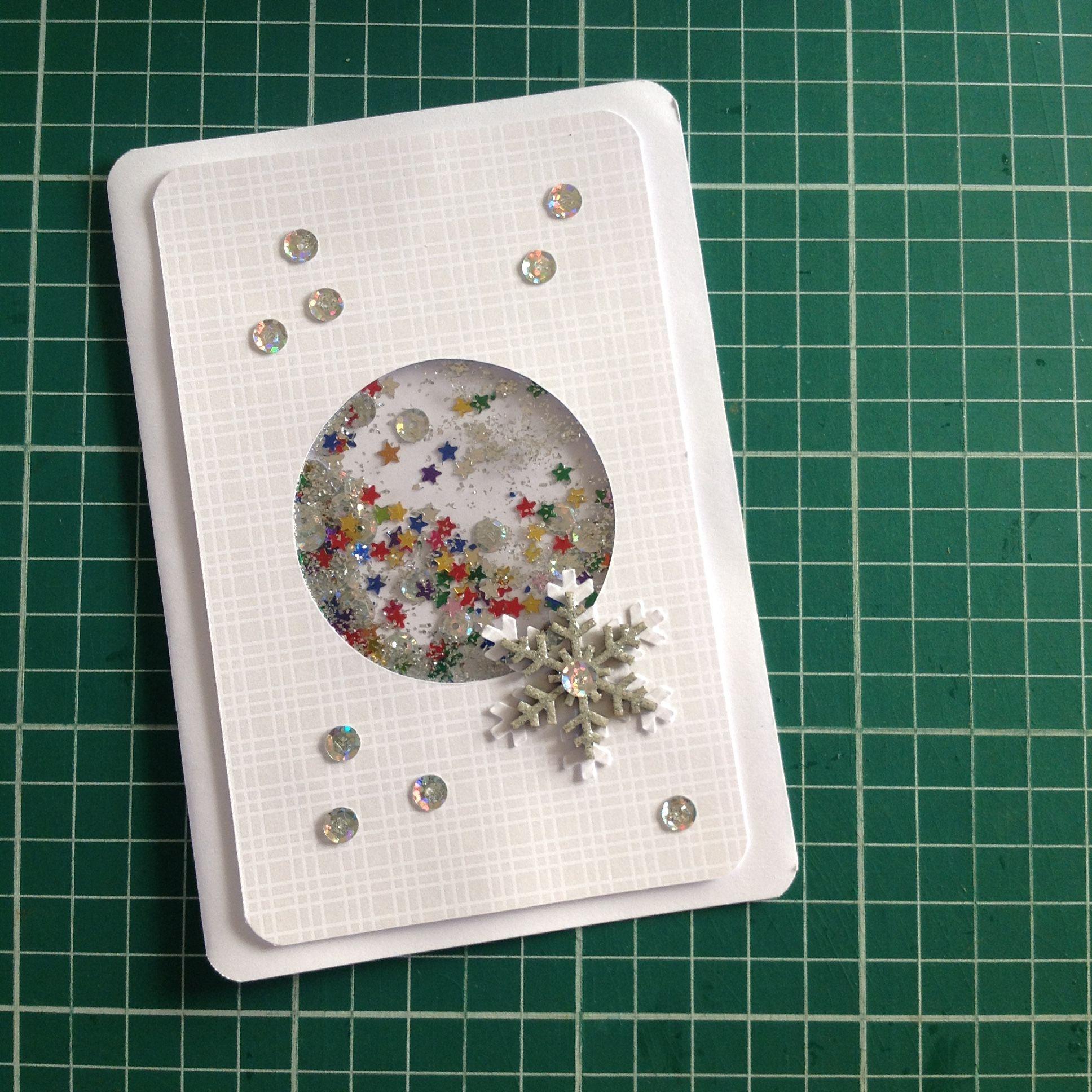 Cartão de natal em scrapbooking da linha prata - shaker card.