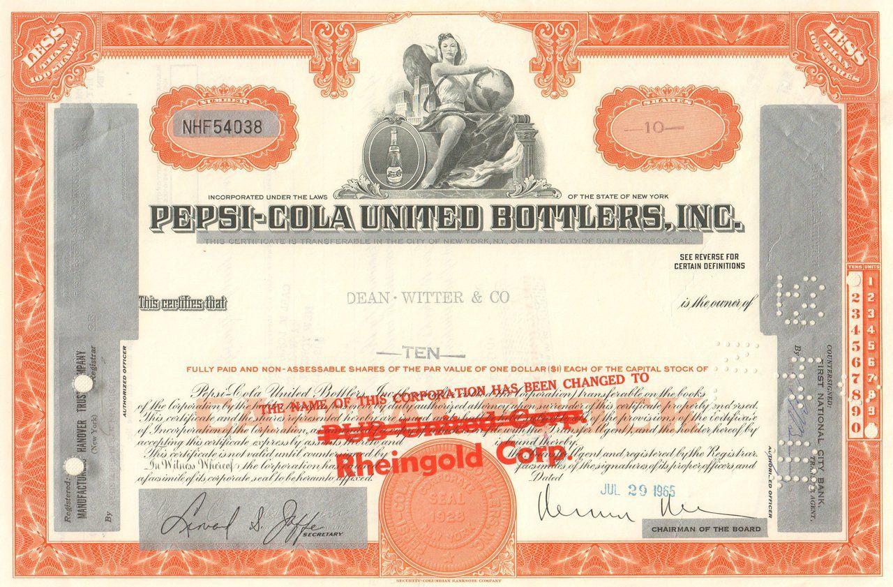 Pepsi Cola United Bottlers Inc 1965 Soft Drinks
