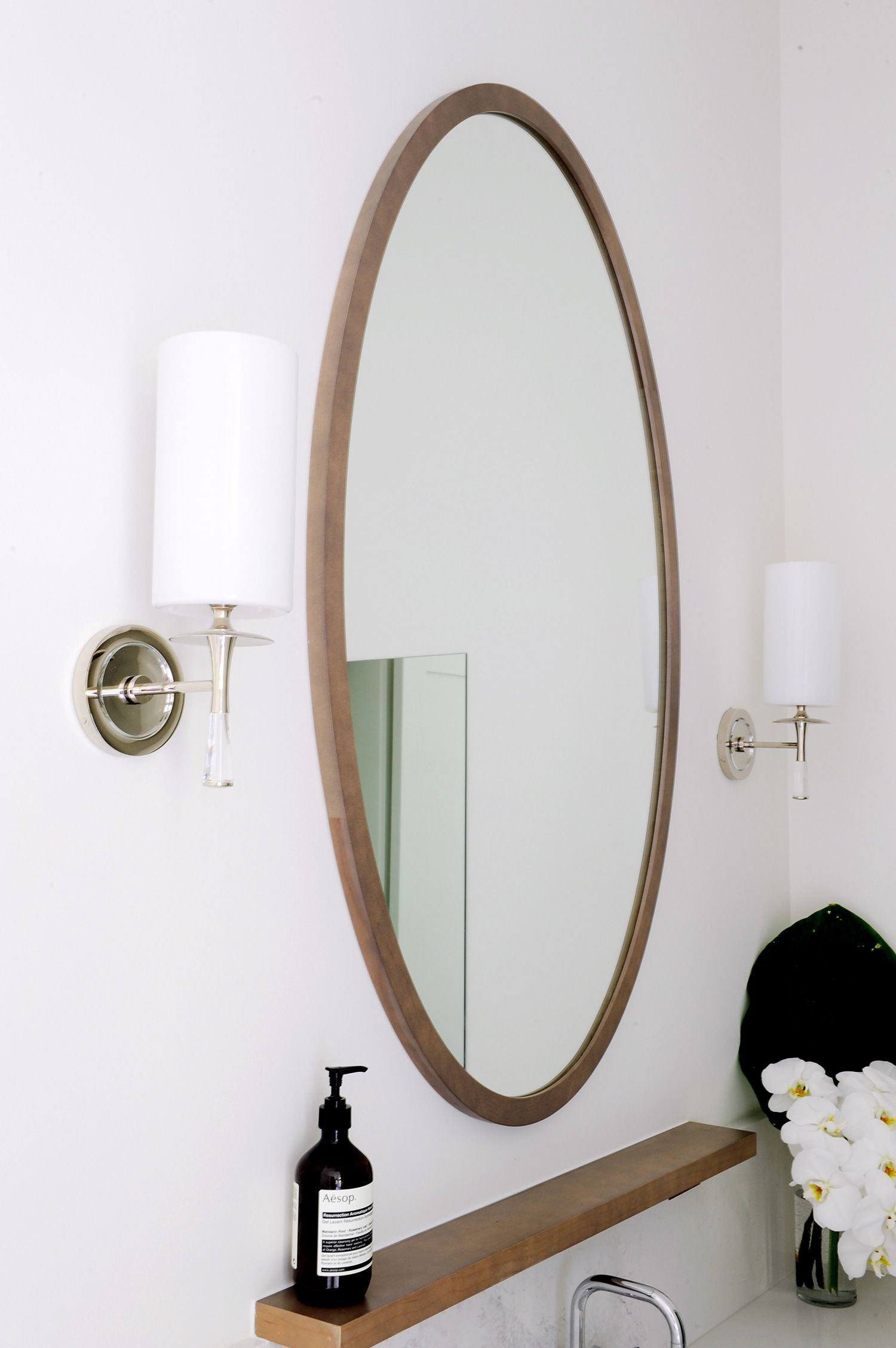 Mixed Materials In A Master Suite Rue Bathroom Wood Shelves Decor Round Mirror Bathroom