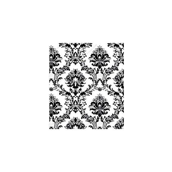 Black on White Victorian Stencil Damask