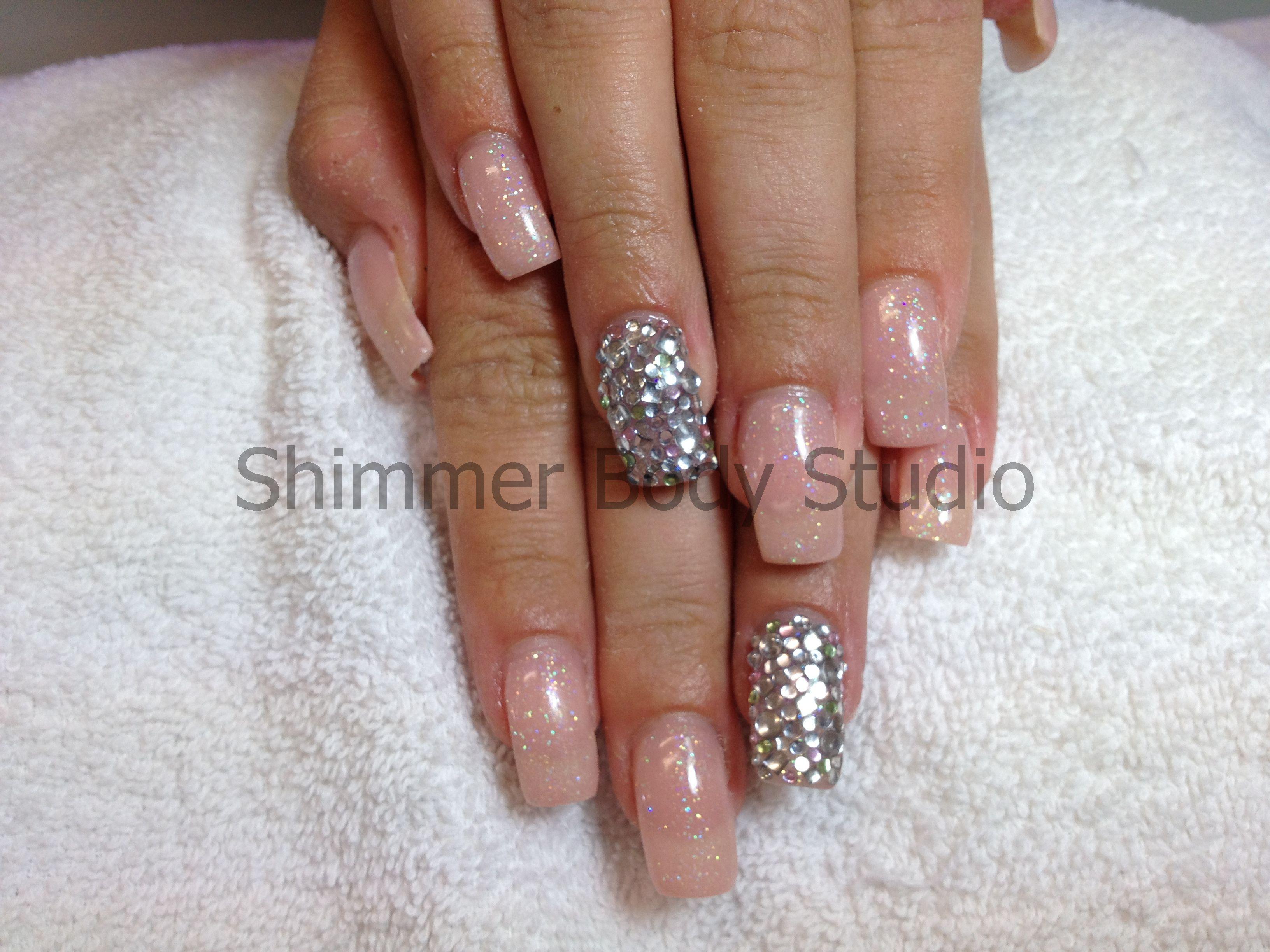 Gel nails, nude nails, glitter nails, feature nail, crystal ...