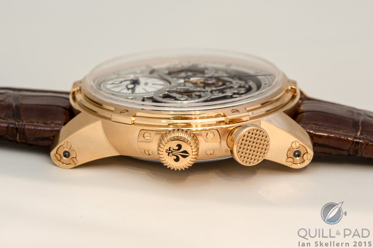 The Louis Moinet Memoris has a very distinctive pusher and crown