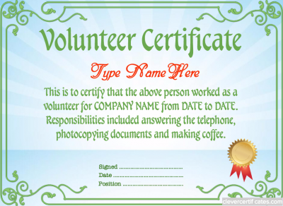 Volunteer certificate template free to customize for Volunteer recognition certificate template