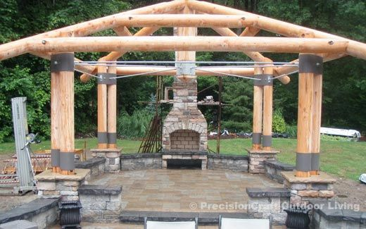 Log Gazebo Under Construction Outdoor Spaces In 2019