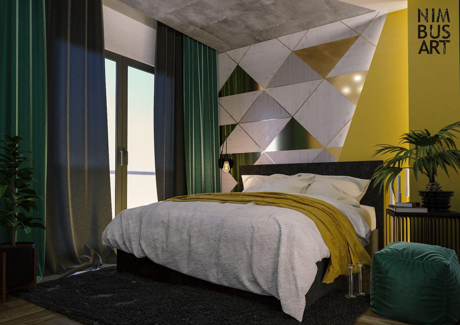Green and Yellow Bedroom Design İzmir / Dış Cephe Tasarımı ...