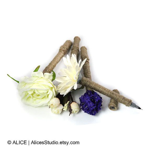Floral Guest Book Pen - Rustic Wedding Decor - Purchase Together with Any Hand-Drawn or Printed Guestbooks