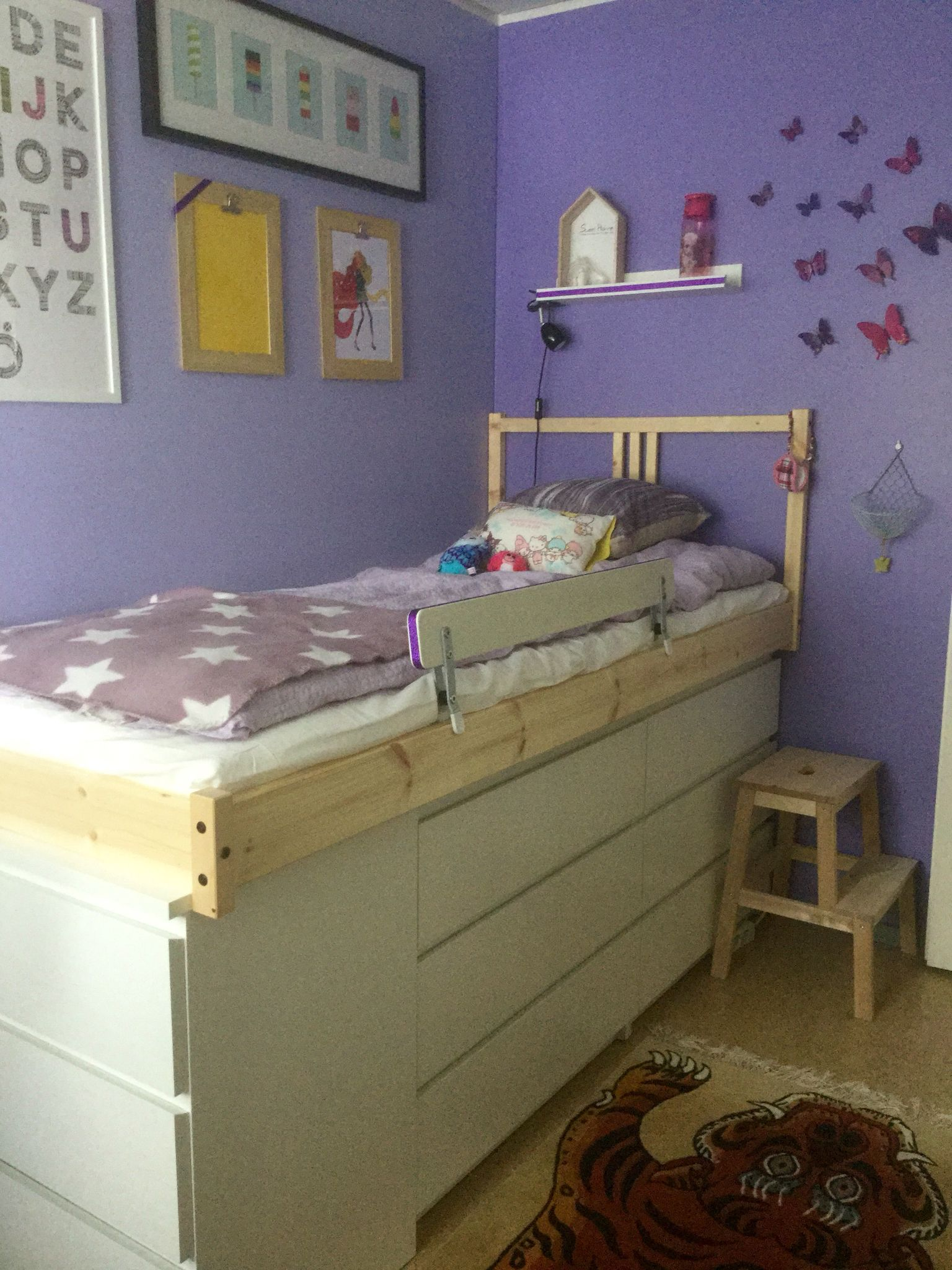 3 X Malm Dresser Fjellse Bed DIY In A Tiny Girl Bedroom