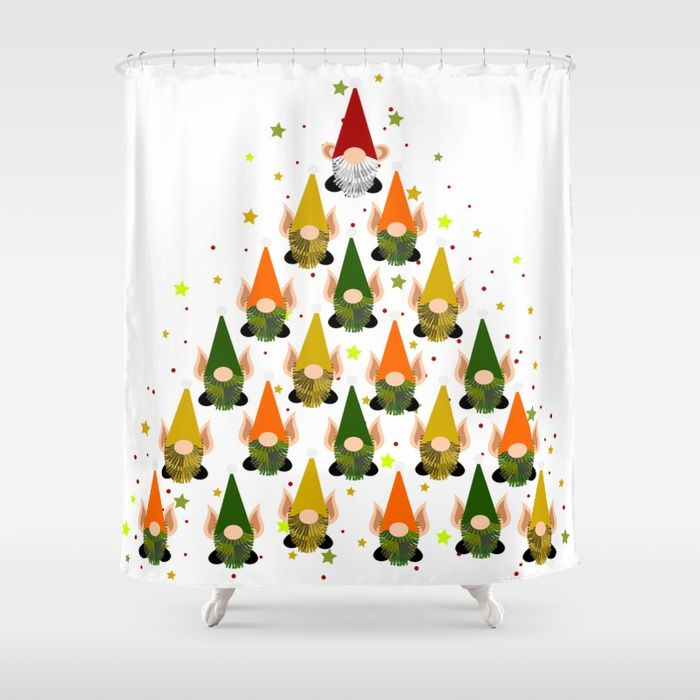 Merry Gnoming Christmas Shower Curtain Inspired By The Holiday Spirit And Garden Gnomes Elves Santa Home Decor Gift Ideas