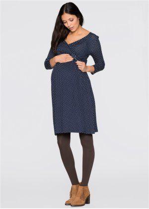 Umstandskleid   Stillkleid aus Jersey, bpc bonprix collection, dunkelblau  wollweiß gepunktet 451729fe38
