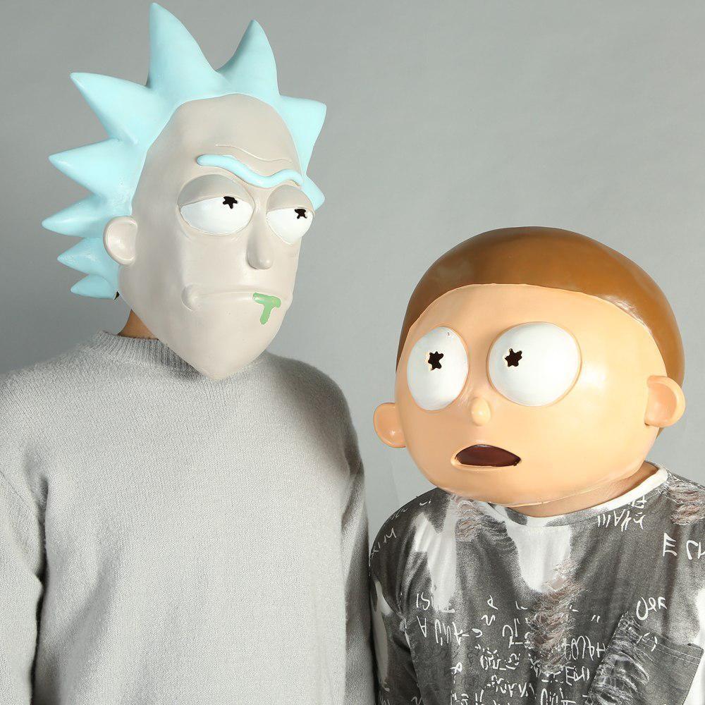 Rick and Morty Cosplay Mask Adult Latex Full Head Halloween Morty Mask Rick Mask