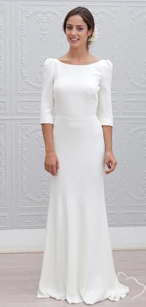 Simple Sheath Round Neck 3/4 Sleeves Open Back Cheap Long Wedding Dresses,FPWD142