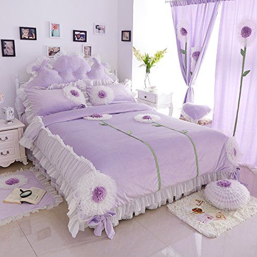 FADFAY Home Bettwäsche Marke Textil, Velours, Mädchen, Mit Fee, Design Princess Korean Set, violett, King Size