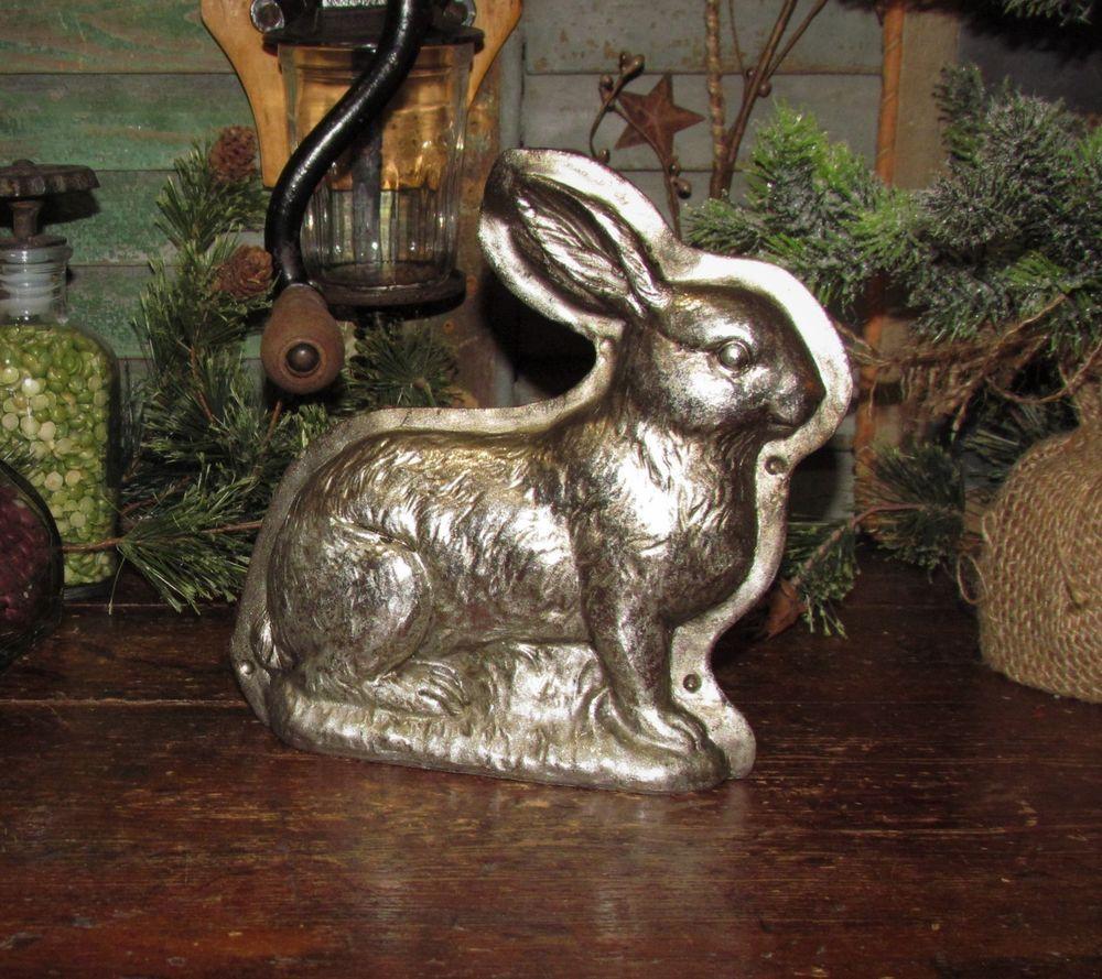 Primitive Antique Vtg Tin Style Easter Bunny Rabbit Silver Resin Chocolate Mold