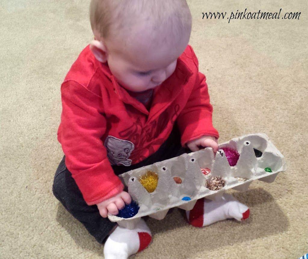 Baby play egg cartons pink oatmeal baby sensory play