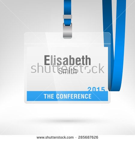 Conference Badge With Name Tag Placeholder Blank Badge Template In Plastic Holder With Blue Lanyard Vector Illustratio Conference Badges Badge Template Badge