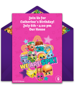 Tons Of Free Shopkins Online Invitations At Your Fingertips Like This Fun Design Featuring Many SPK Characters Send Easily To Family And Friends From