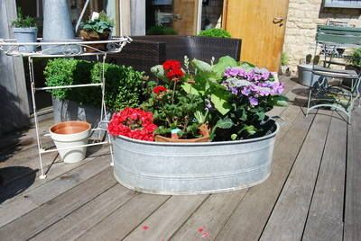 Galvanised bath/planter