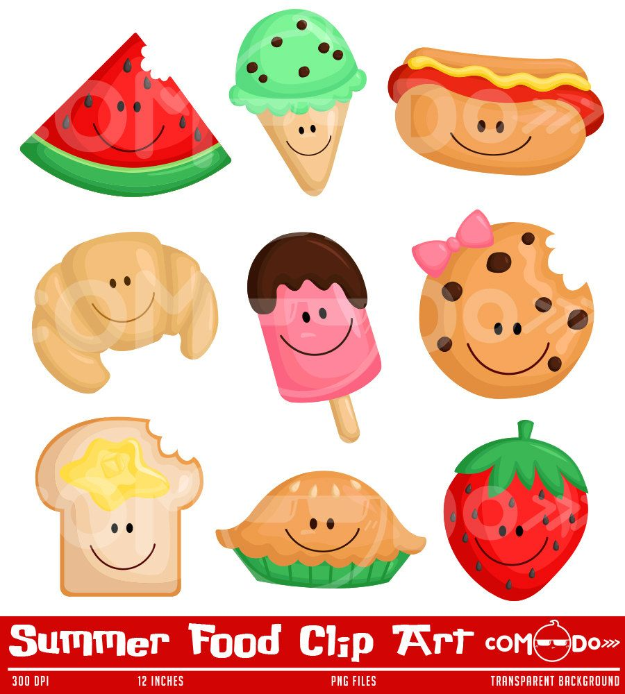 Summer Food Cute Clipart / Digital Clip Art for Commercial ...