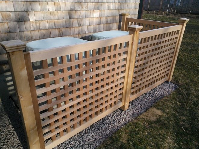 Lattice Fence To Hide Air Conditioner Google Search Fence Around Pool Cedar Fence Hide Trash Cans