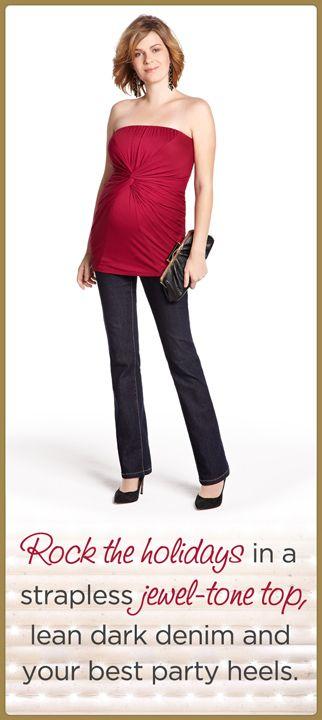 7e0b798a6fb72 Thyme Maternity Tube Top, Red, Black, XS-XL, 714088 // Thyme Maternity  Slender boot Jean, XS-XL, 713981