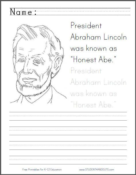 abraham lincoln honest abe coloring sheet with handwriting practice great for presidents day. Black Bedroom Furniture Sets. Home Design Ideas