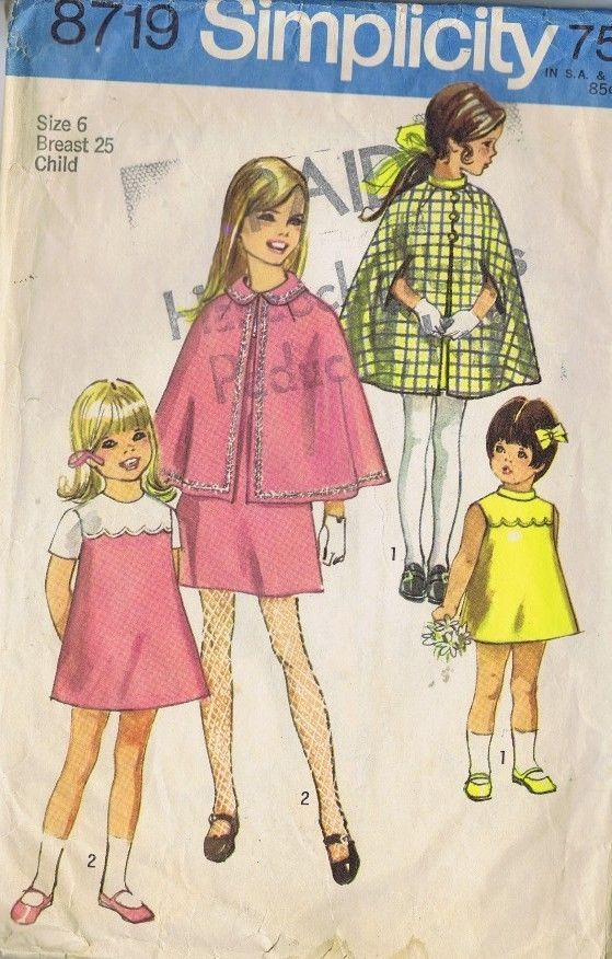 8719 Simplicity Girls One Pc Dress Cape Sewing Pattern Size 6 Bust