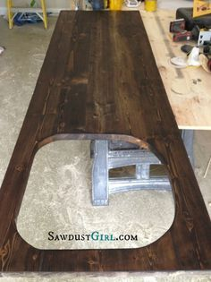 Super cheap wood countertop - around $25 in supplies...for laundry countertop. Made from 2x6's