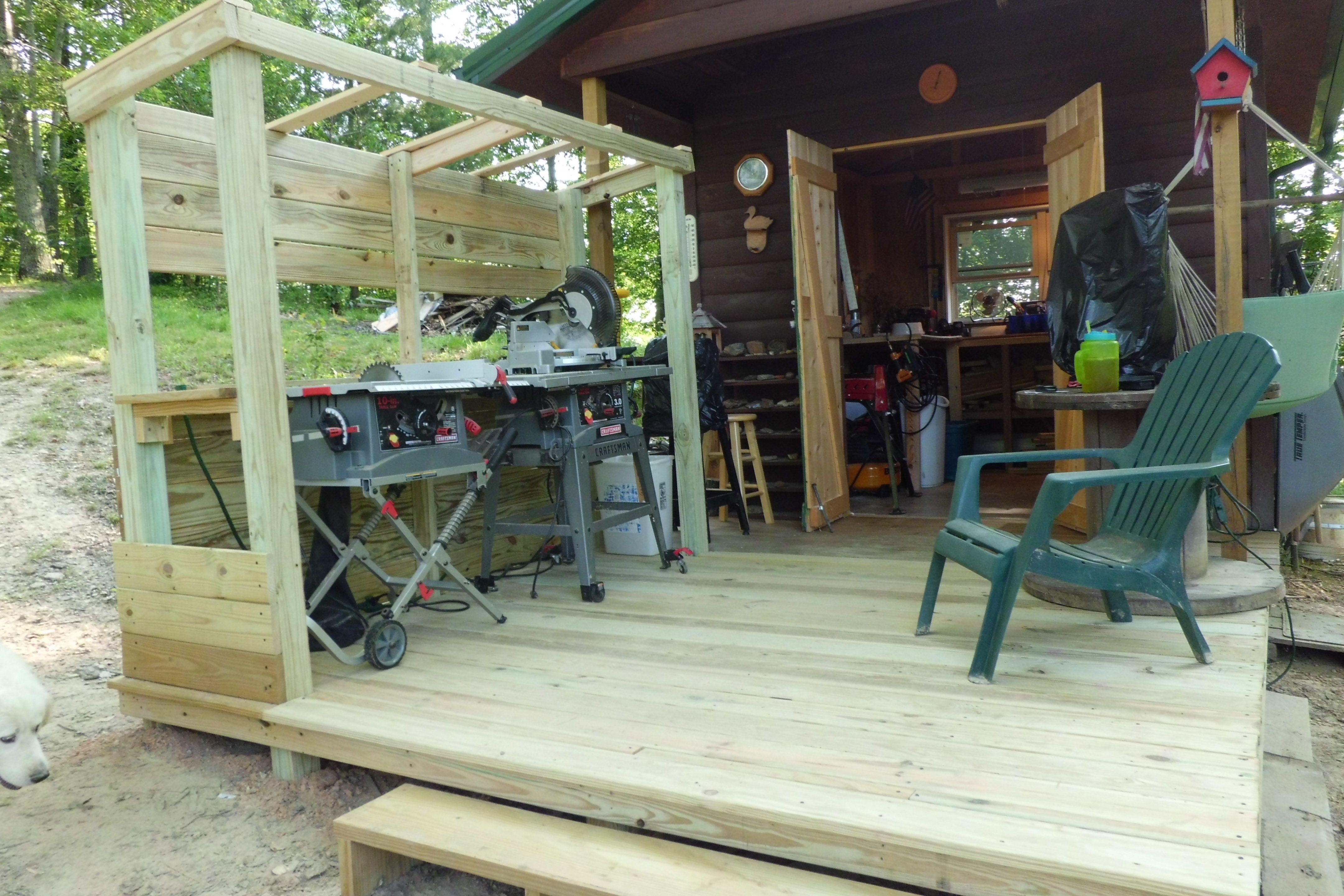 my outdoor wood shop addition before i added the tin roof