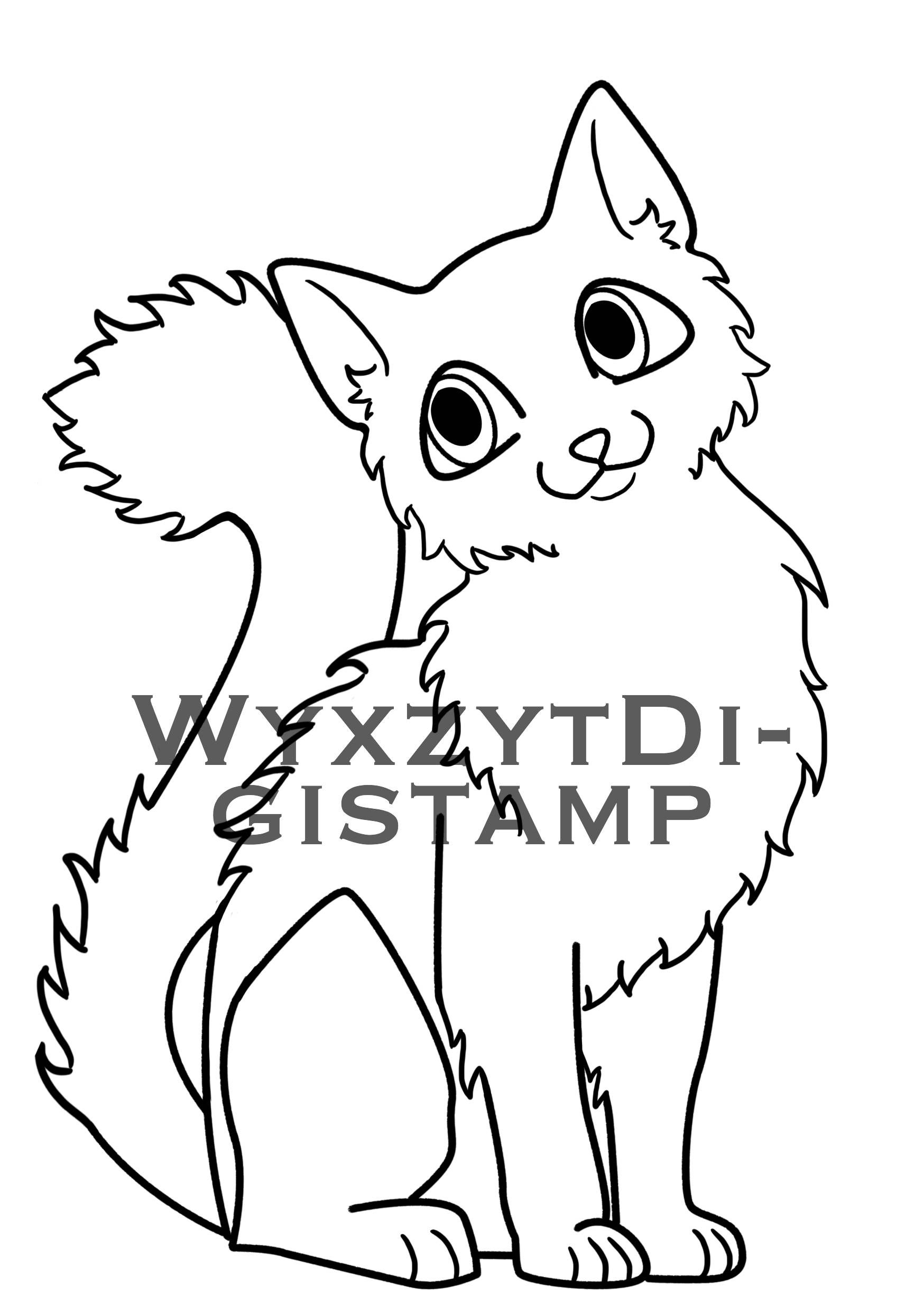 Cute fluffy cat digistamp, instant download coloring page