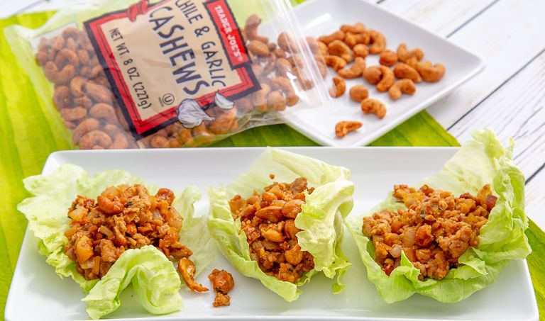 Inspired By A Favorite Dish At A Nearby Chinese Restaurant This Combination Of Sesame Stir Fried Ground Chicken Cru In 2020 Cashew Chicken Food Chicken Lettuce Wraps