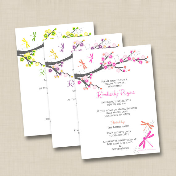 Cherry Blossoms And Dragonflies Custom Bridal Or Baby Shower