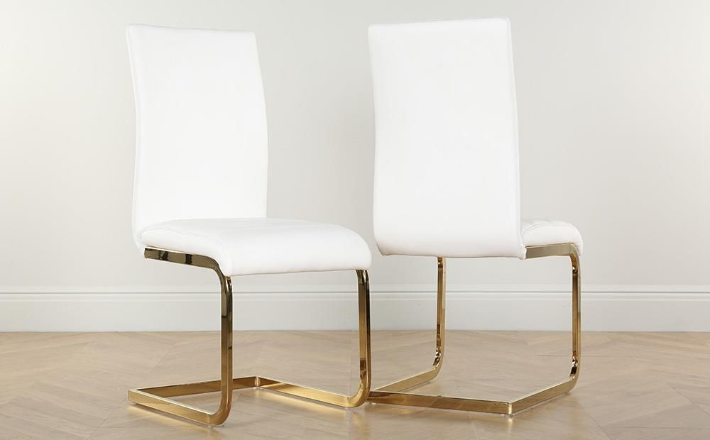 Perth White Leather Dining Chair Gold Leg Leather Dining