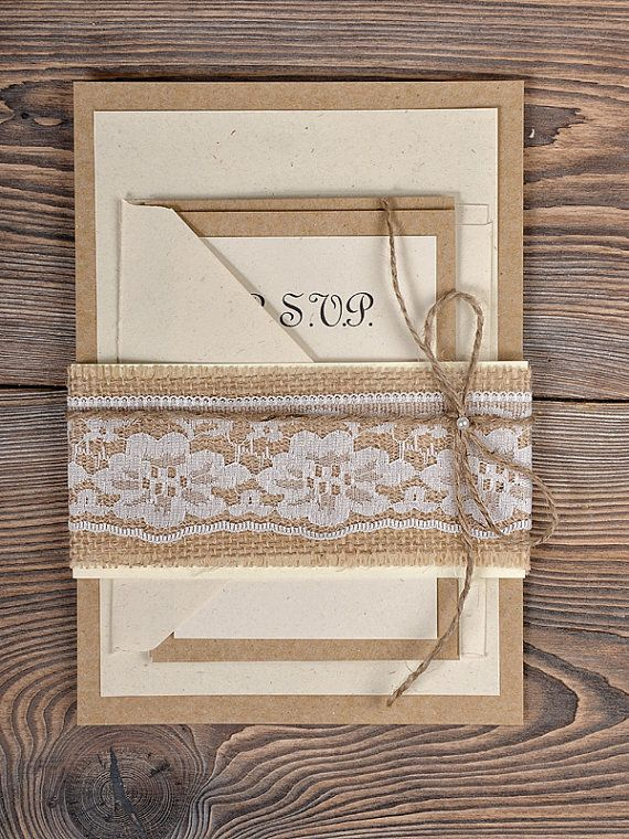 Assez Natural Burlap Wedding Invitation, Country Style Wedding  RE88