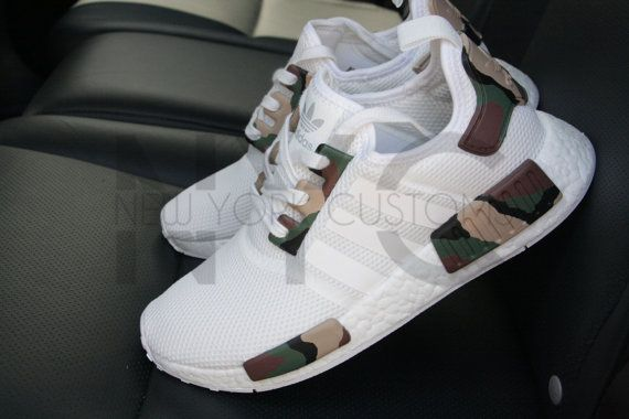 Camo Adidas NMD Runner Triple White Custom Men by NYCustoms