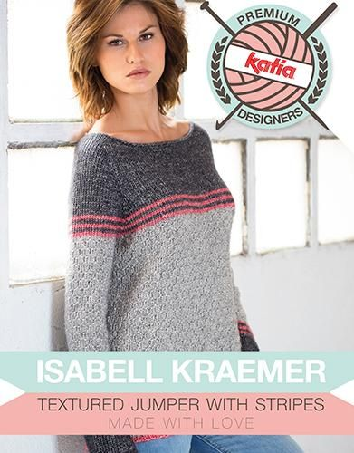 Textured Jumper With Stripes Free Knitting Pattern Download Diane
