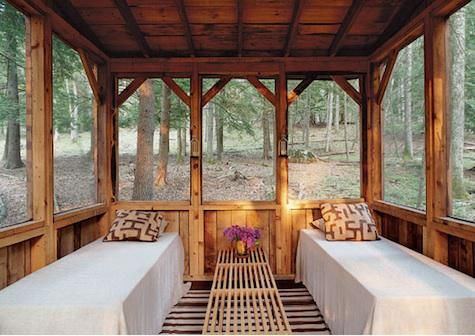 Sleeping porches...how romantic they are.  This one is outdoors.  #Porch #Outdoor Spaces