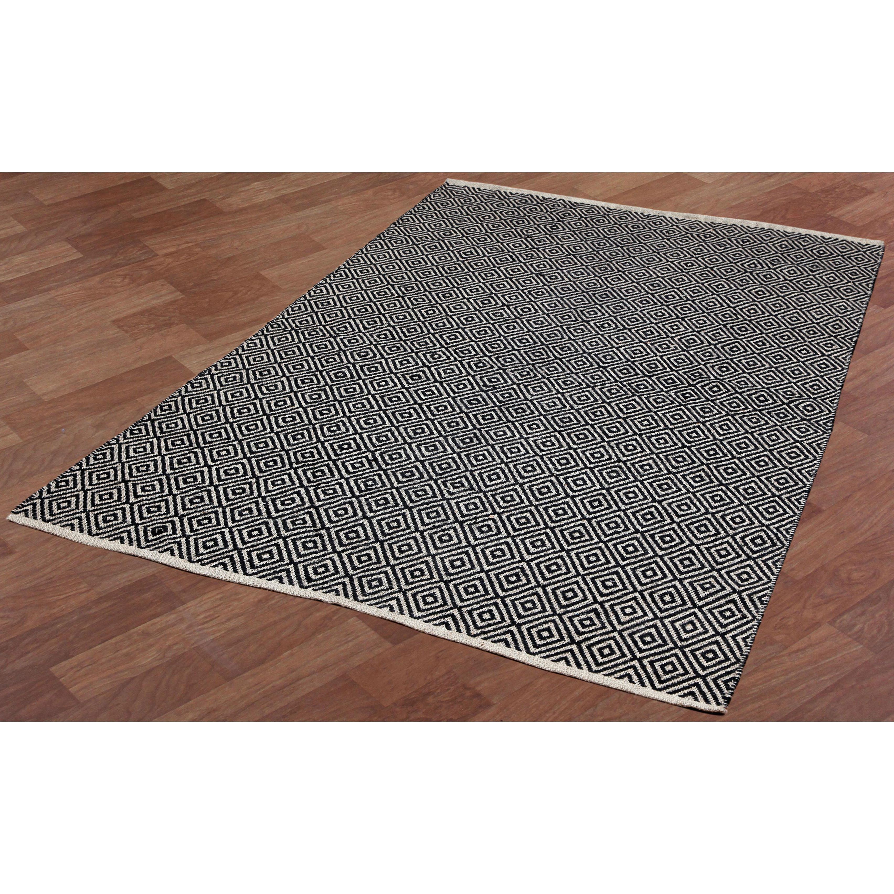 black jute diamonds flat weave rug overstock shopping great deals on rugs
