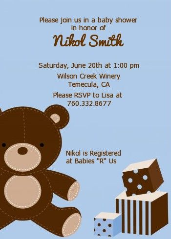 Teddy Bear Blue   Baby Shower Invitations