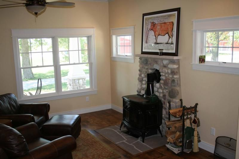 I like the windows and stone hearth for woodstove. (and the cow print)