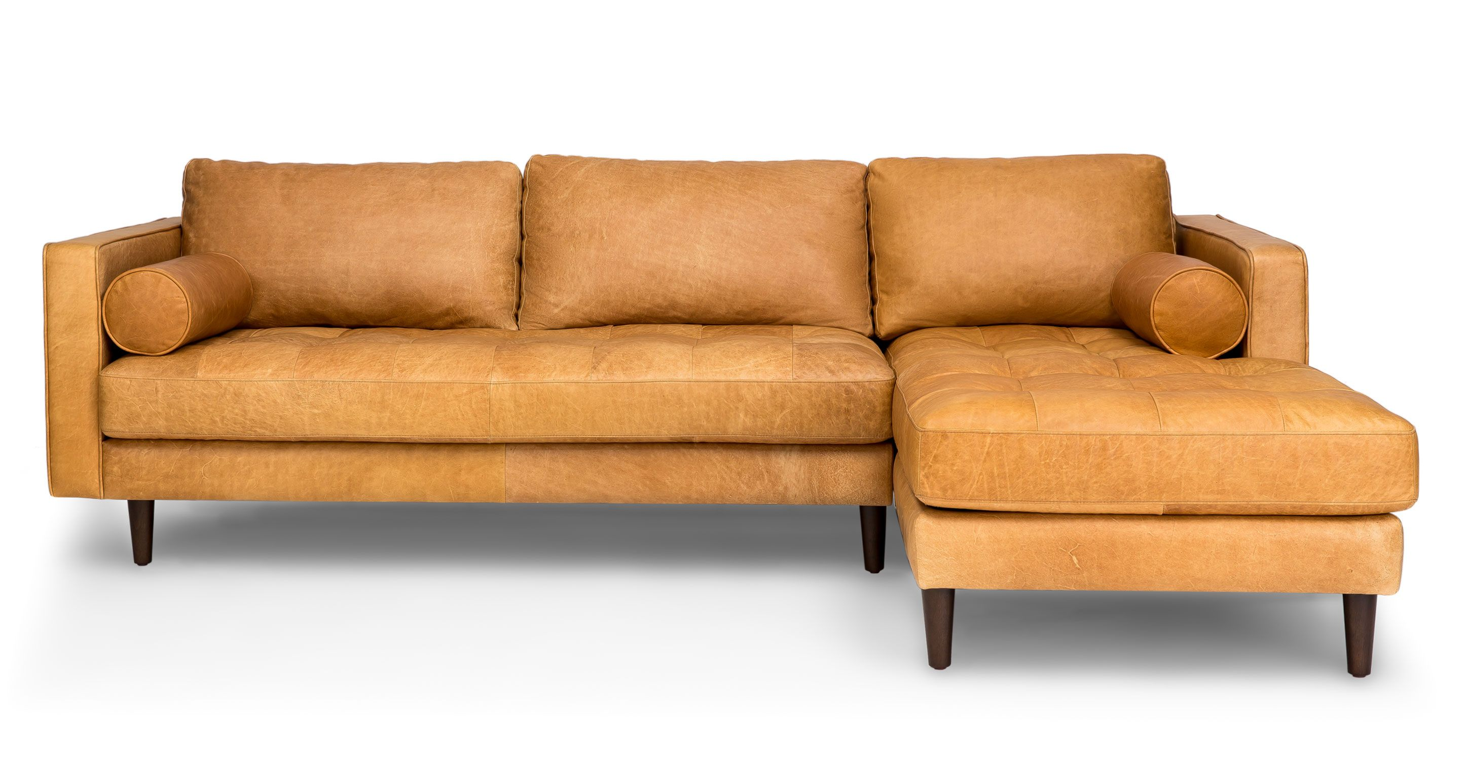 Sven Charme Tan Right Sectional Sofa Sectionals Article Modern Mid Century And