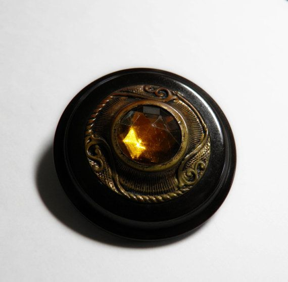 Bejeweled Bakelite Button Brass with Amber by ButtonsFromTheAttic, $22.00