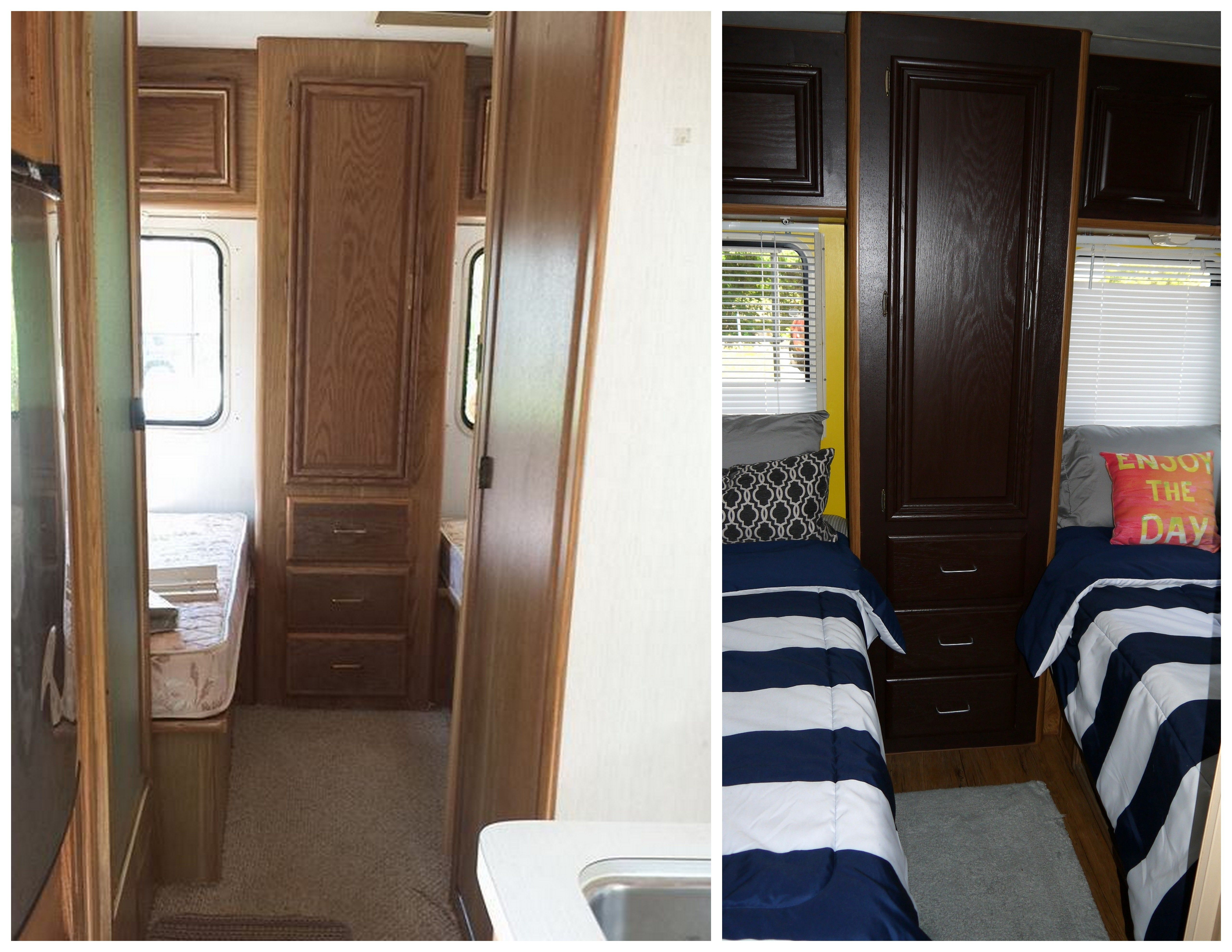 Before & After Camper RV Buy cabinet Stain from Home Depot $15 a