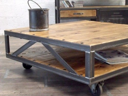 Table Basse Industrielle Loft Table Basse Bois Metal