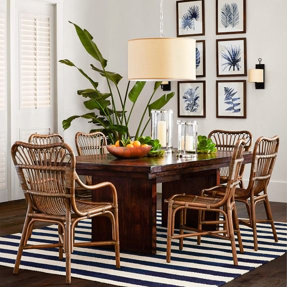 Indigo Foliage Print Williams Sonoma Dining Arm Chair Room Chairs