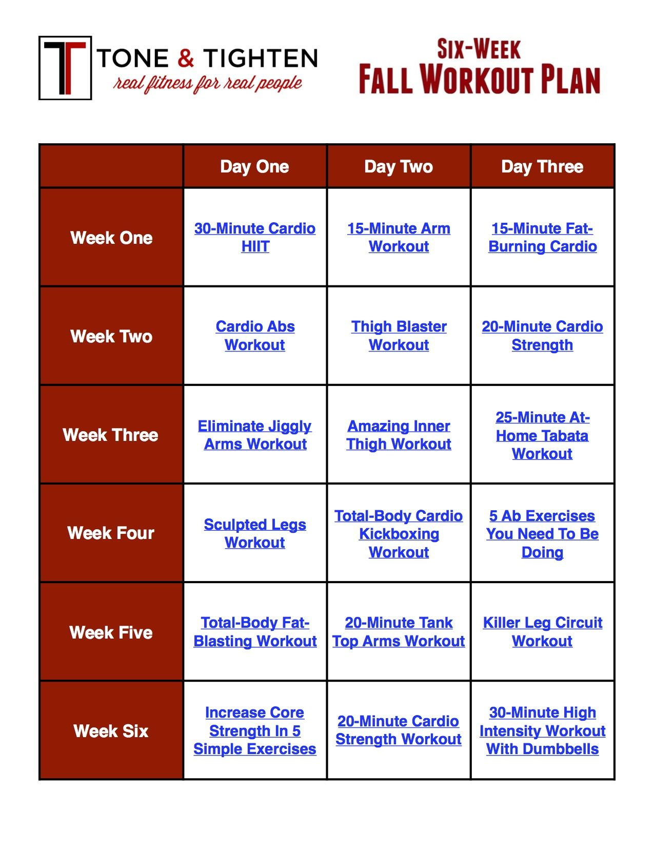 six week exercise and diet plan