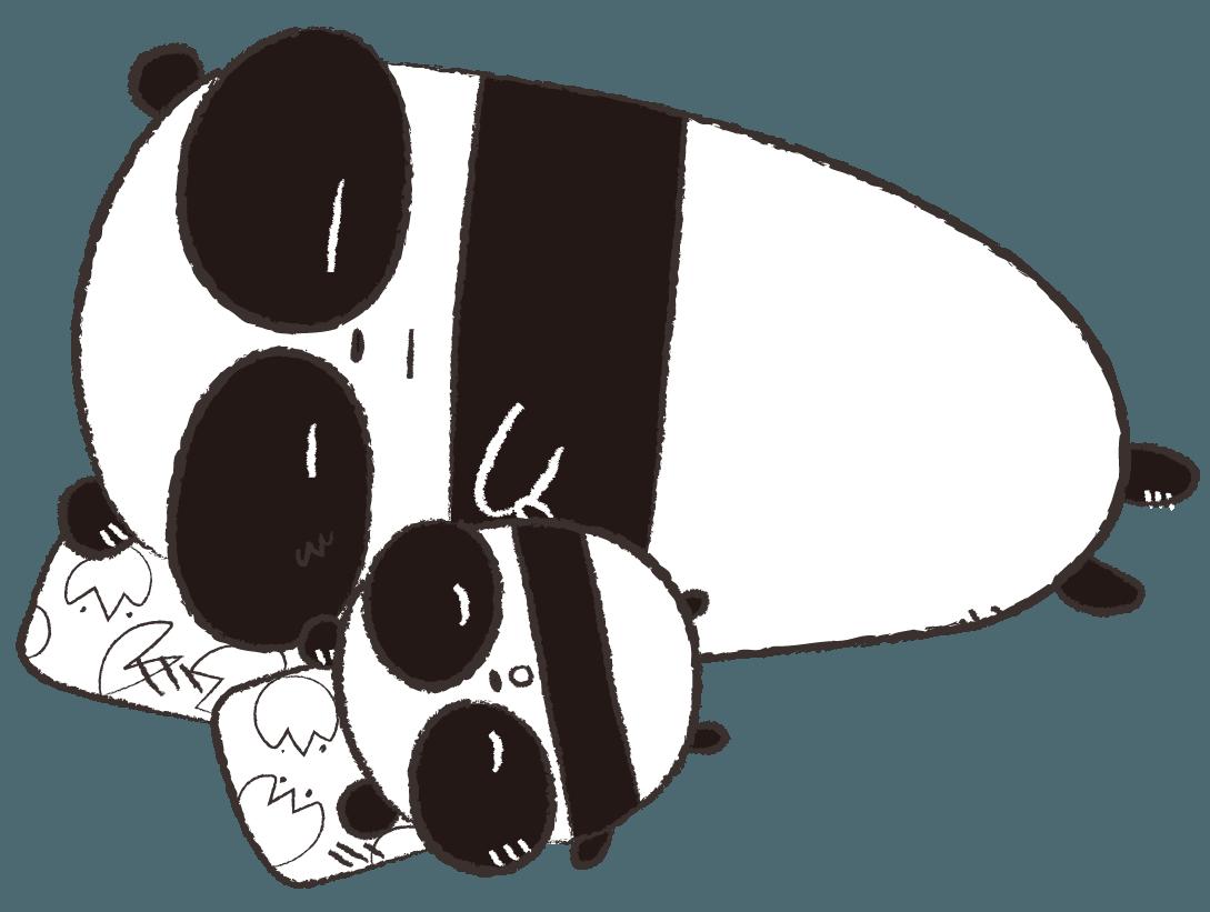 眠るパンダの親子 イラスト モノクロ | gogon's magazine | pinterest