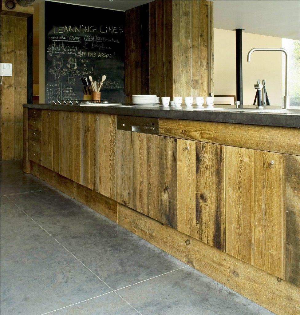 Fa ade cuisine bois recycl id es pour la maison for Facade cuisine rustique