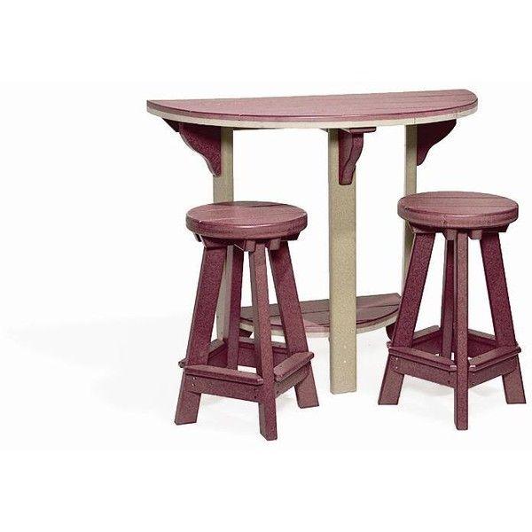 Amish Half Round Poly Patio Pub Table And 2 Bar Stools Set 756