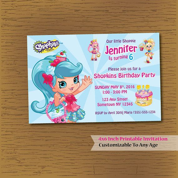 SHOPKINS Shoppie Printable Birthday Invitation DIY by Anjillian - print out birthday invitations